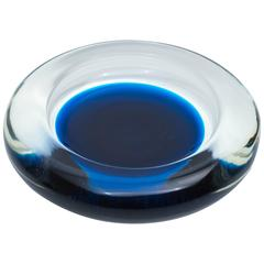 Blue and Clear Glass Dish by Venini for Pierre Cardin, 1980