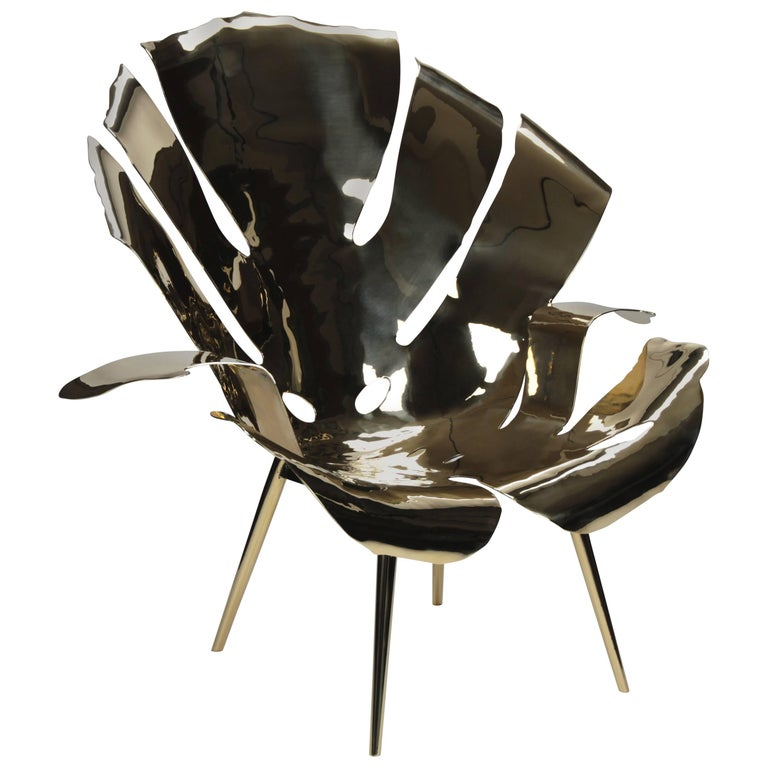The Philodendron Leaf Lounge Chair in Solid Brass by Christopher Kreiling For Sale