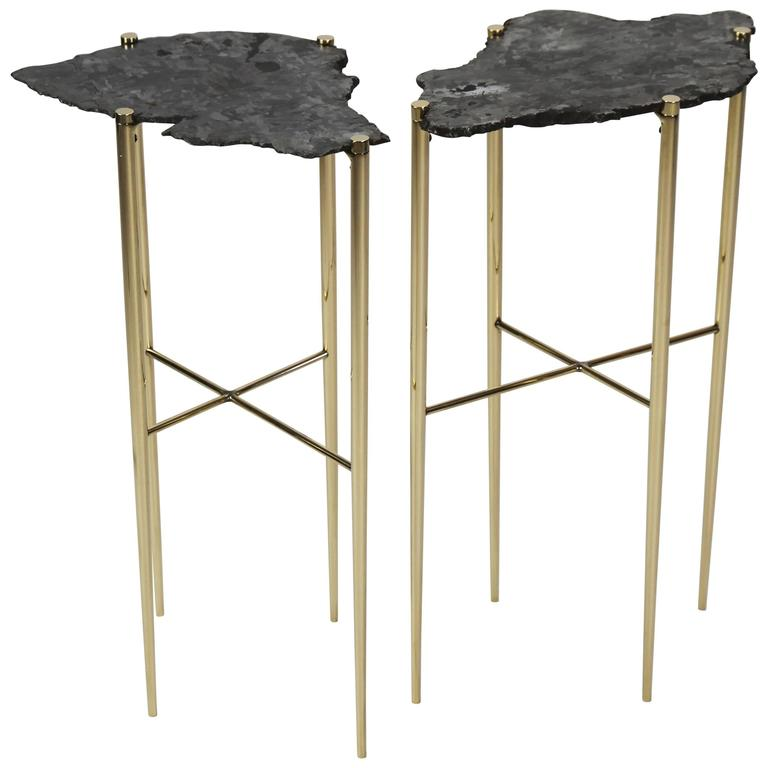 Meteorite Cocktail Tables in Brass by Christopher Kreiling