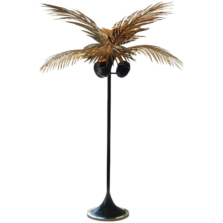 California King Palm Tree Floor Lamp in Polished Brass by Christopher Kreiling For Sale