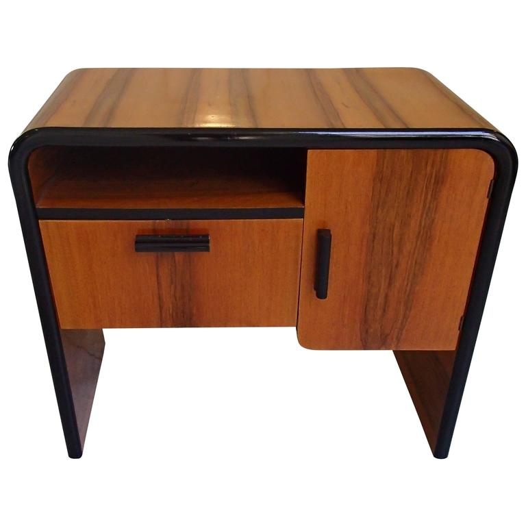 Art Deco Small Konzle Side Table Walnut with Black