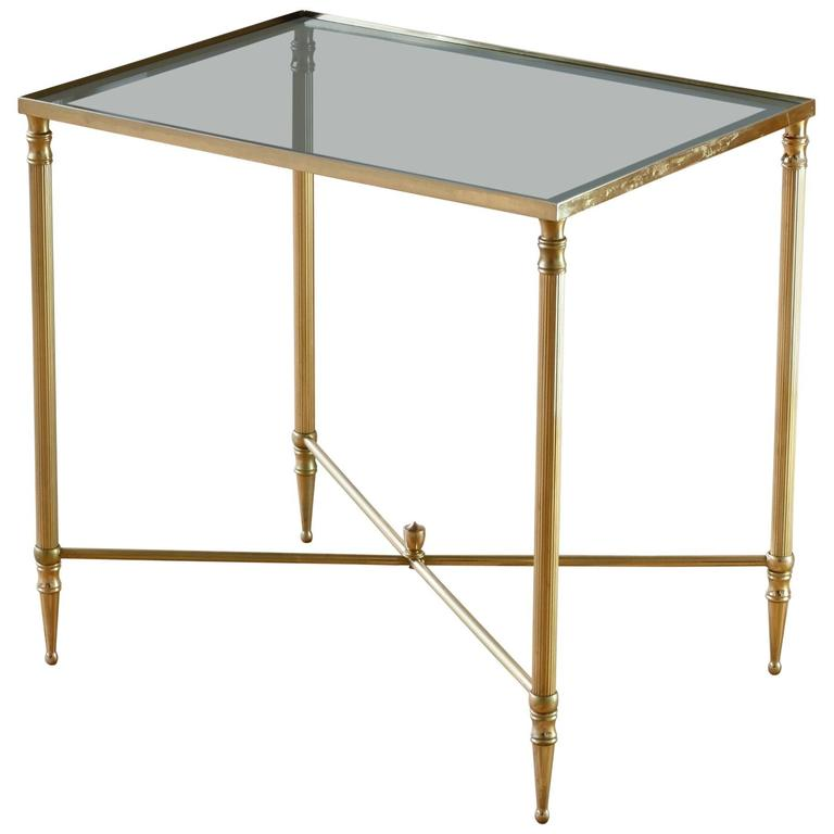 Mid-Century French Brass Side or End Table Attributed to Maison Jansen For Sale