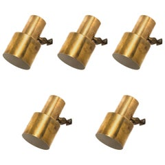 Set of Five Wall Lamps in Brass