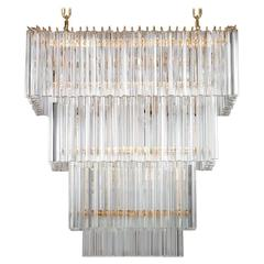 Italian Rectangular Chandelier in Murano Glass, Transparent, 24-Karat Gold
