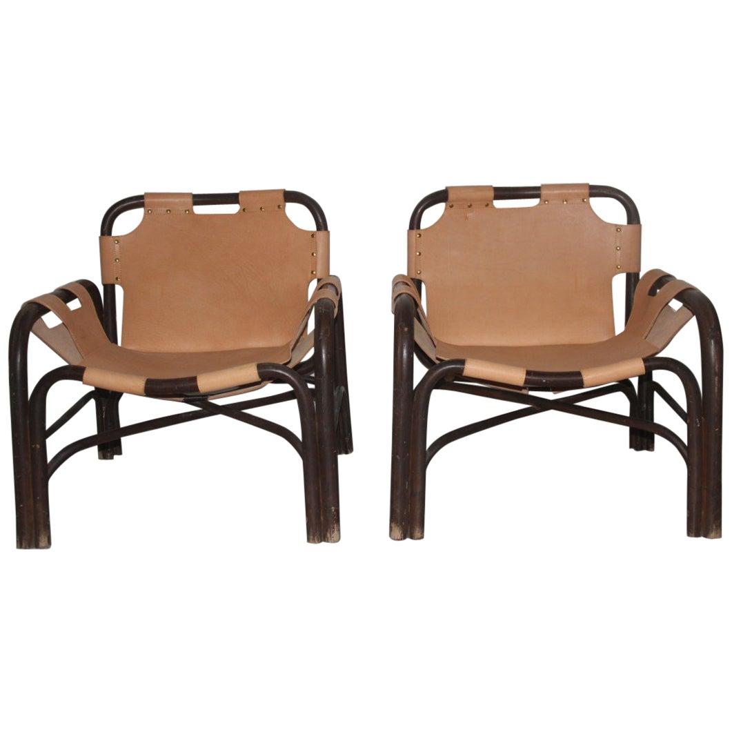 Pair  Leather Safari Armchairs and Rattan Bonacina Attributed Tito Agnoli