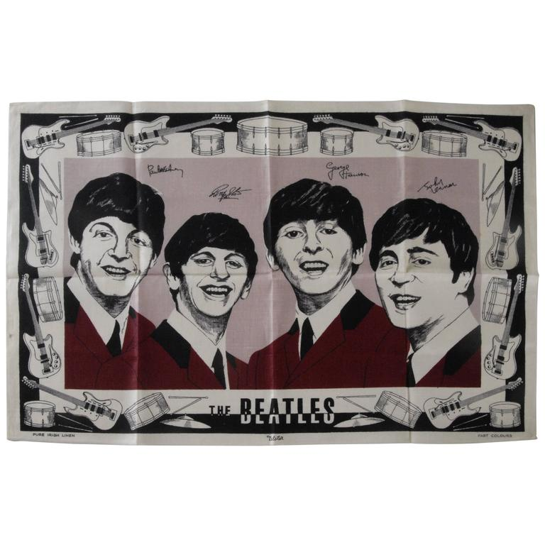 Beatles Irish Linen Tea Towel Souvenir 1964 For Sale