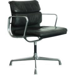 Vintage Black Leather Eames for Herman Miller Soft Pad Aluminium Group Chair