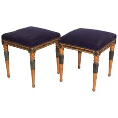 Pair of Late Gustavian Giltwood and Paint Stools, Stockholm, Sweden, circa 1800