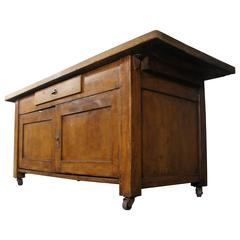 20th Century Pine and Beech Baker's Table Freestanding Kitchen Island