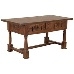 Spanish Solid Walnut 17th Century Table with Turned Legs