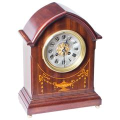 Antique French Marquetry Mahogany Mantle Clock, circa 1900