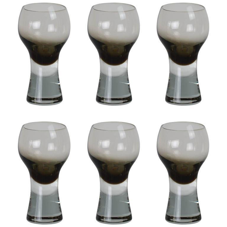Set of Six Danish Mid-Century Drinking Glasses