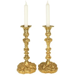 Pair of 19th Century Régence Style Gilt Bronze Candlesticks