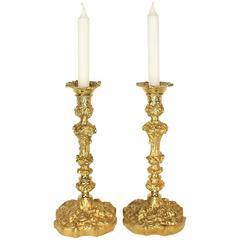 Pair of 19th Century Régence Style Gilt Bronze Candlesticks