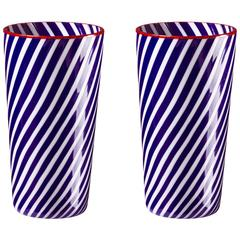 Blue and White Striped Murano Water Tumblers, Set of Two