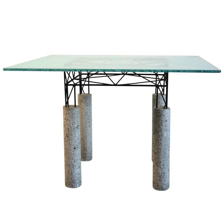 Glass Table, Concrete and Concrete Iron, Italy, 1980