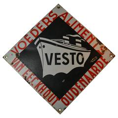 Enamel Sign with Boat