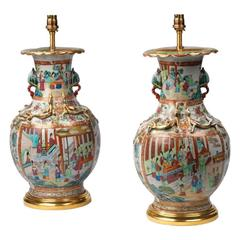 Pair of Chinese Mid-19th Century Hand-Painted Canton Enamel Lamps