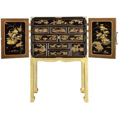 Japanese Edo Period Black and Gilt Lacquer Cabinet on Stand