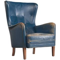 Danish Easy Chair in Blue Original Leather