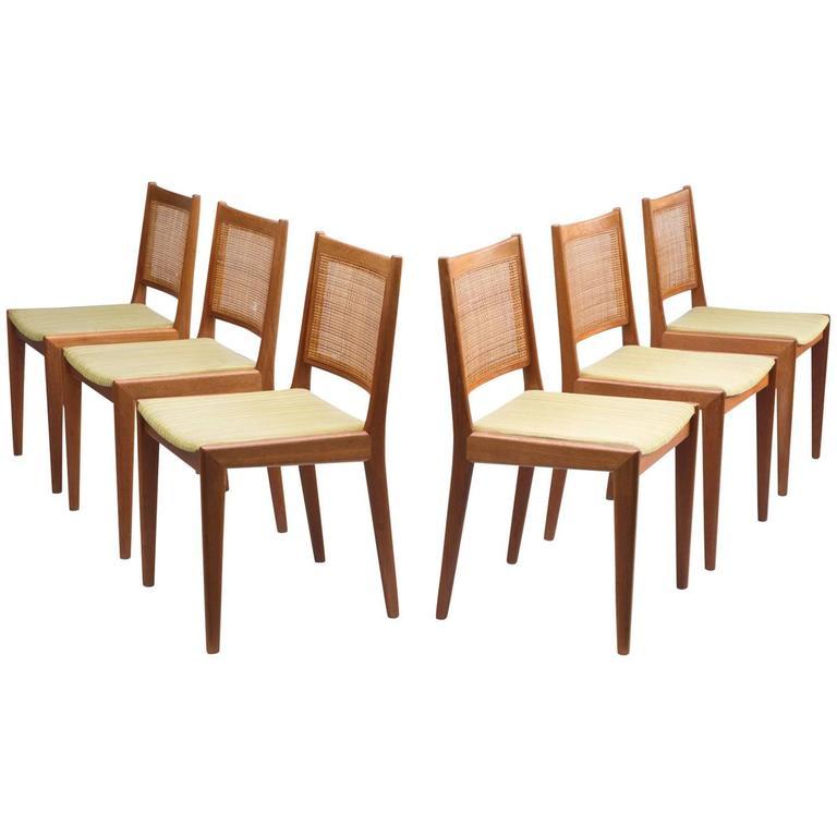 Karl-Erik Ekselius Set of Six Dining Chairs in Teak and Cane
