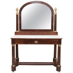 Elegant First Empire Flame Mahogany Dressing Table of Unusual Proportions