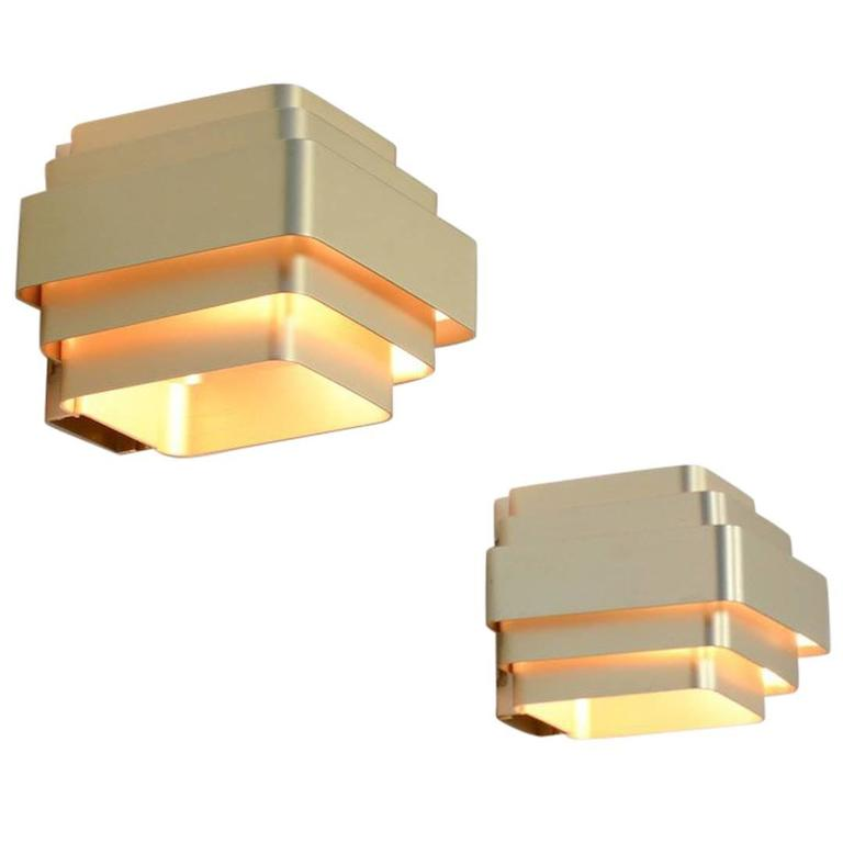 Pair of Gold Colored Aluminium Wall Lamps by Jules Wabbes