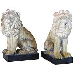 Large Opposing Pair of 19th Century French Weathered Terracotta Garden Lions