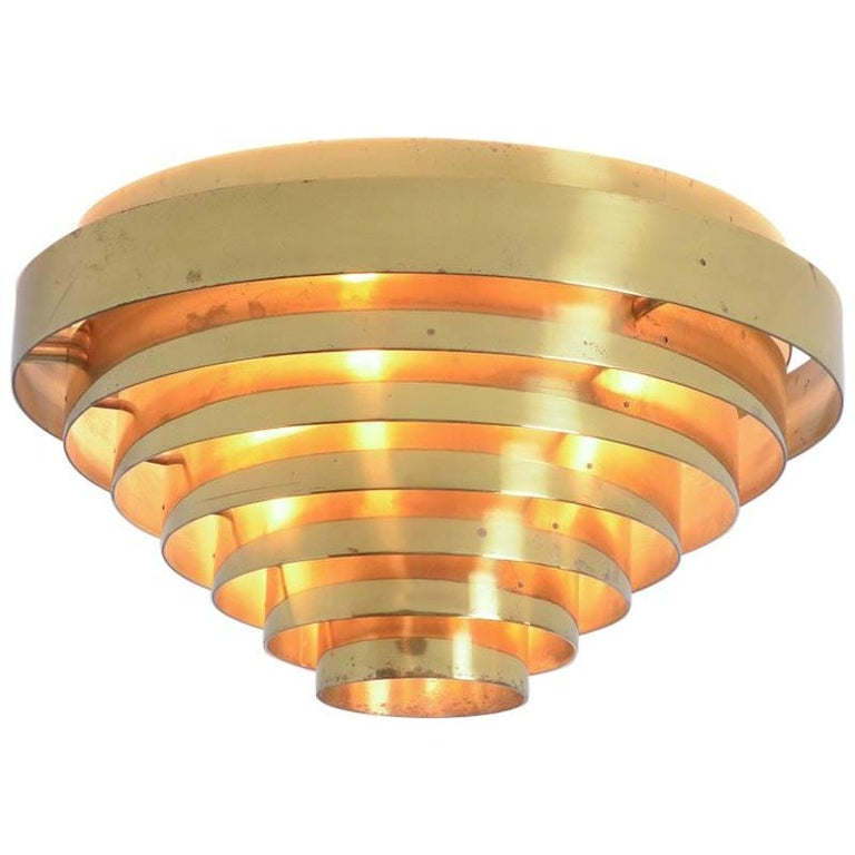 Unique Brass Ceiling Lamp by Jules Wabbes, 1969 For Sale