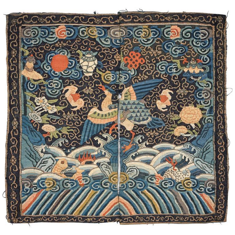 19th Century Chinese Mandarin Duck Woven Silk Kesi Rank