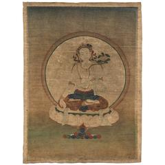 18th Century Tibetan White Tara Painted Thangka