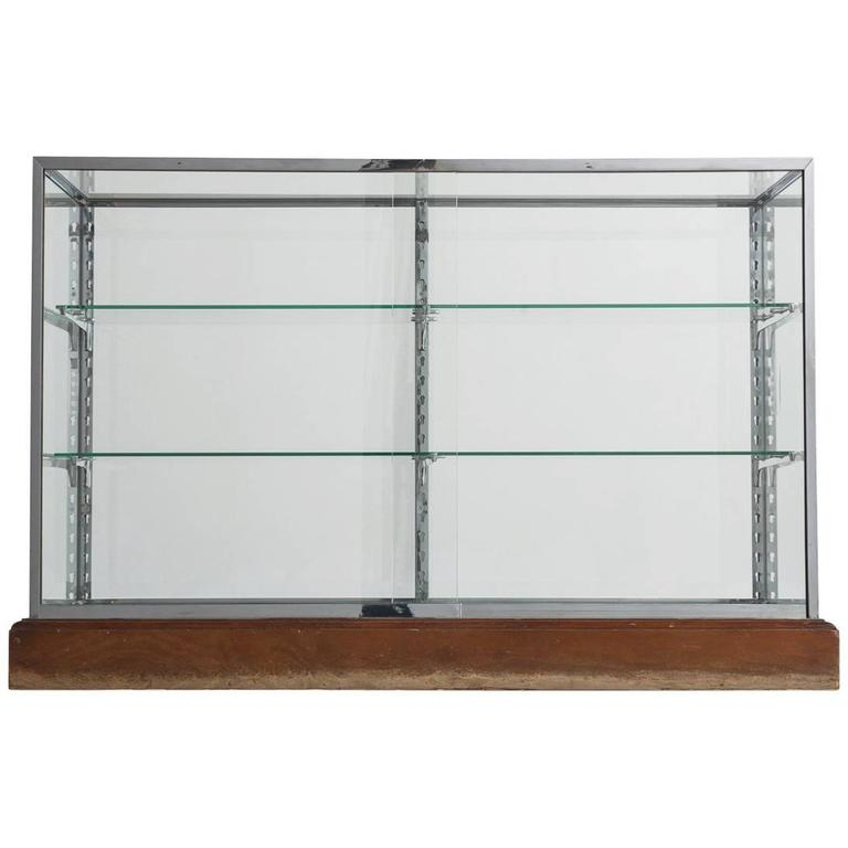 modern geometric vitrine with glass and steel for sale at 1stdibs. Black Bedroom Furniture Sets. Home Design Ideas