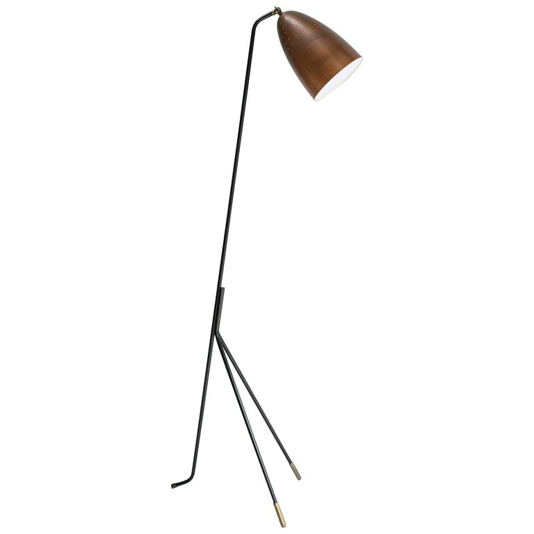 rare copper grasshopper floor lamp by svend aage holm sorensen denmark 1950s at 1stdibs. Black Bedroom Furniture Sets. Home Design Ideas