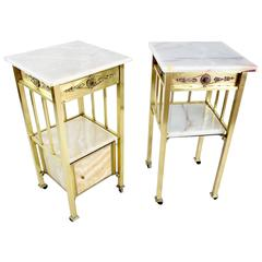 French Pair of High Marble Brass Nightstands, 1920's