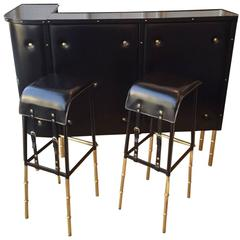 Jacques Adnet 1950s Black Bamboo Bar and Two Bar Stools