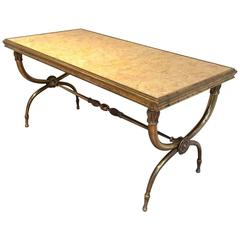 Brass and Marble Coffee Table Attributed to Raymond Subes