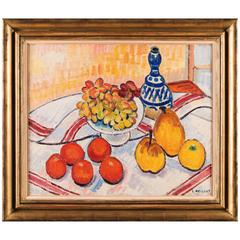 Still Life Blue Vase, Pears, Grapes, Oranges