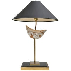 Large Sculptural Table Lamp in Brass with Ceramic Bird