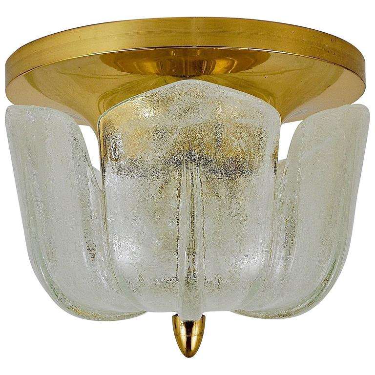 Up to Three Mid-Century Limburg Brass and Glass Flush Mounts, Germany, 1970s