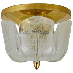A Mid-Century Limburg Brass and Glass Flush Mount, Germany, 1970s