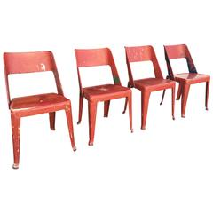 Rare Set of Four French Bistro Chairs