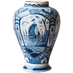 18th Century Blue and White Faïence Baluster Vase with Sea Scapes