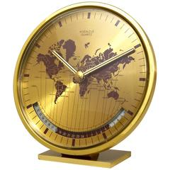 Mid-Century Kienzle GMT World Time Zone Brass Table Clock, Germany, 1960s