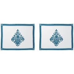 Blue Hand-Printed Linen Placemats, Set of Two