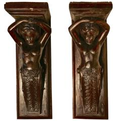 Pair of Early 19th Century Carved Putti, Wall Brackets