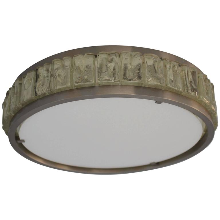 Fine French Art Deco Round Glass and Chrome Flush Mount by Perzel