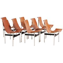 Set of Eight Leather T-Chair Model 3LC  by Katavolos, Littell and Kelly, 1952