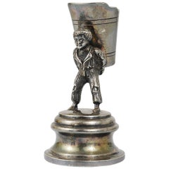 1920s Silver Art Nouveau Toothpick Holder Displaying a Boy at Grape Harvest