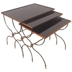 Set of Three Brass and Black Mirrored Nesting Tables