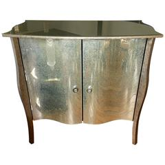 Hollywood Regency Style Serpentine Mirrored Cabinet